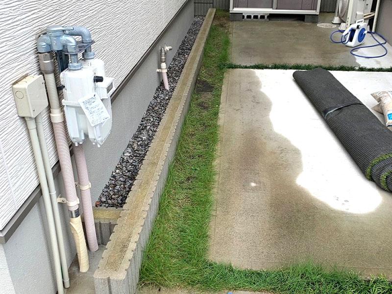 大阪府四条畷市K様邸 駐車場の人工芝施工