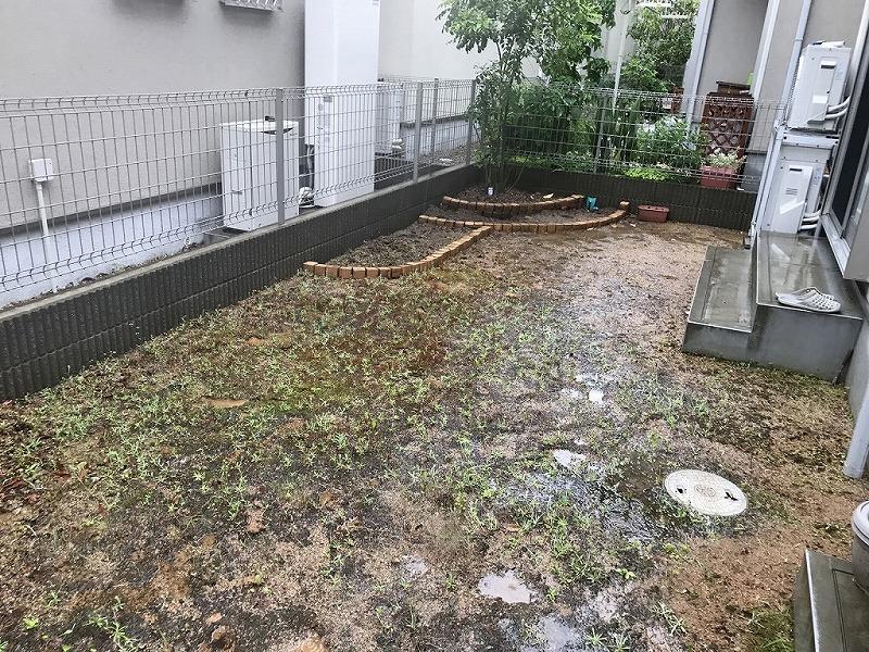 兵庫県神戸市I様邸 お庭に人工芝施工しました