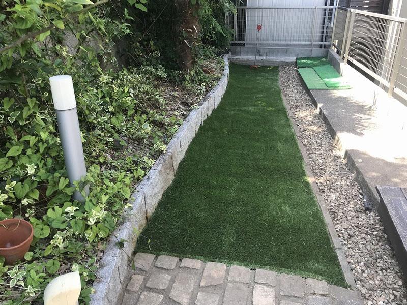 兵庫県西宮市A様邸 お庭のゴルフ人工芝施工