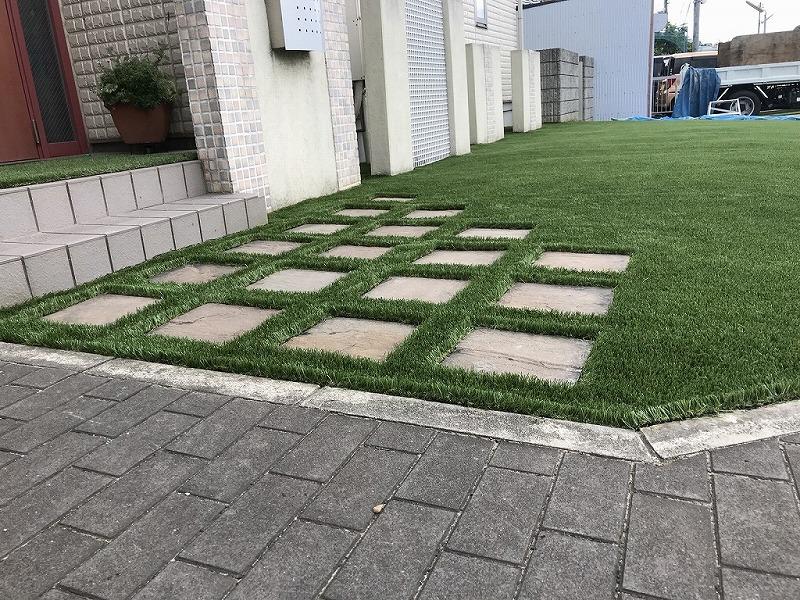 大阪府柏原市F様邸 お庭の人工芝施工