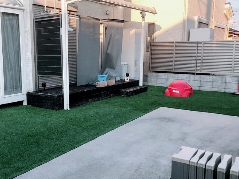 奈良県北葛城郡I様 お庭と植栽周りの人工芝施工