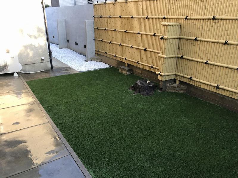 大阪府堺市T様邸 お庭に人工芝施工しました