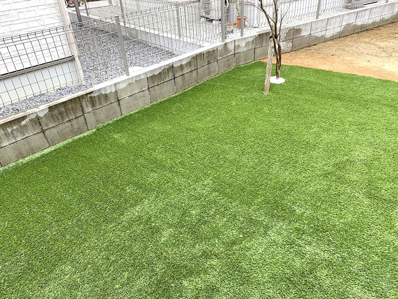 奈良県奈良市Y様邸 お庭の人工芝施工