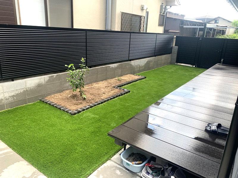 京都府京都市工務店様 お庭の人工芝施工