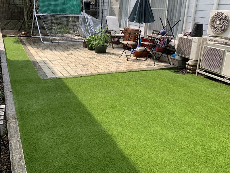 兵庫県西宮市O様 お庭に人工芝施工しました