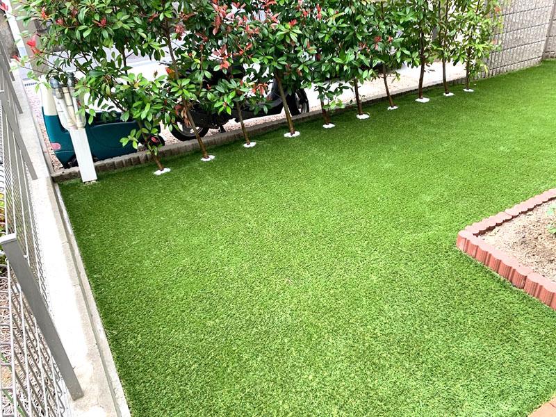 奈良県生駒市K様邸 お庭と玄関の人工芝施工