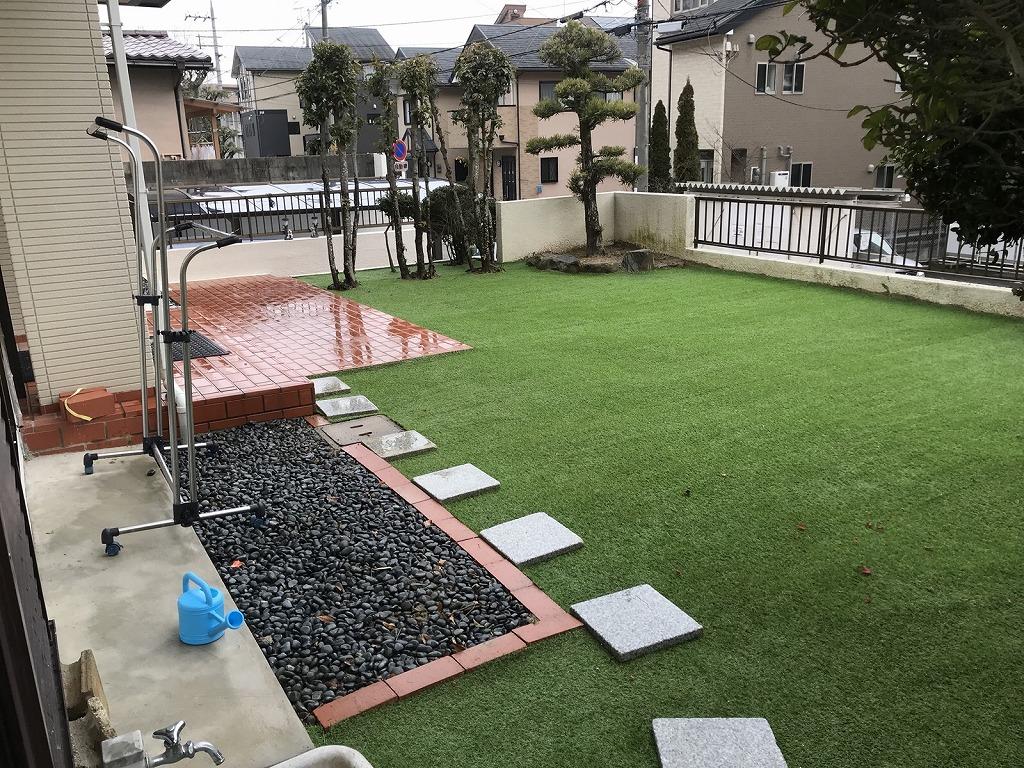 大阪府池田市K様邸 お庭に人工芝施工しました