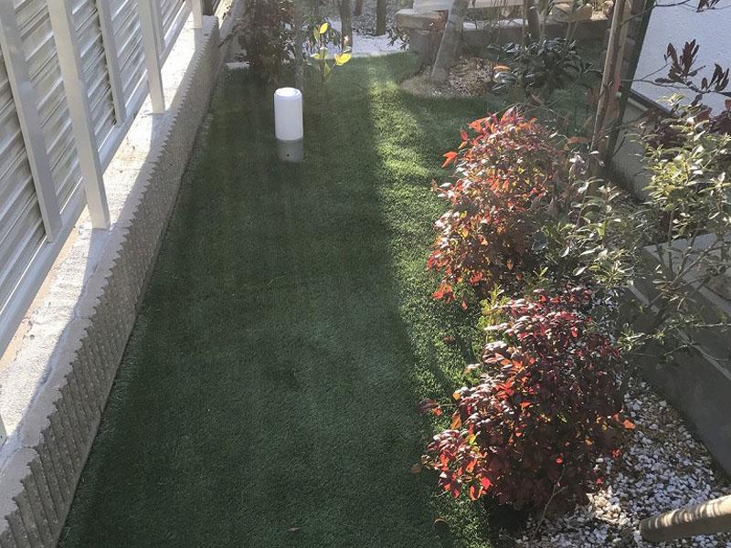大阪府吹田市S様邸 お庭と自宅周辺の人工芝施工