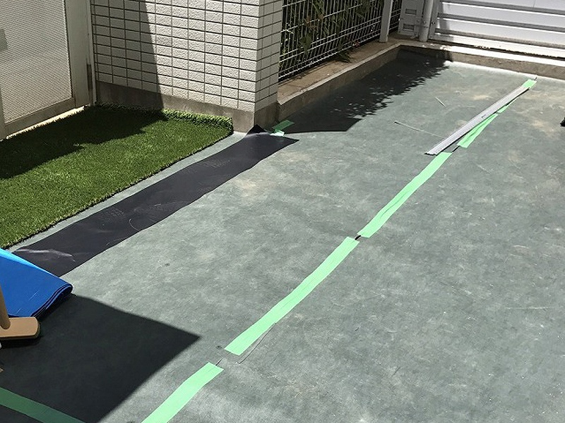 京都府京都市Y様邸 マンション専用庭の人工芝施工