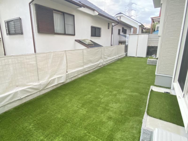 兵庫県宝塚市K様邸 お庭に人工芝施工しました