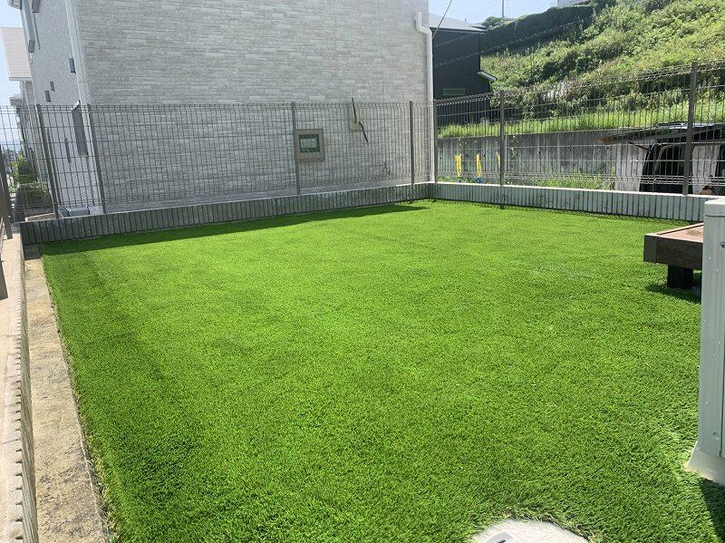 大阪府枚方市M様邸 お庭の人工芝施工