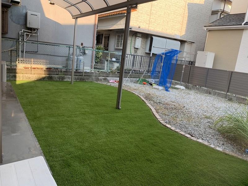 兵庫県川西市S様邸 お庭の人工芝施工