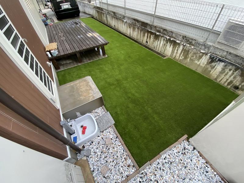 奈良県桜井市K様邸 お庭に人工芝施工しました