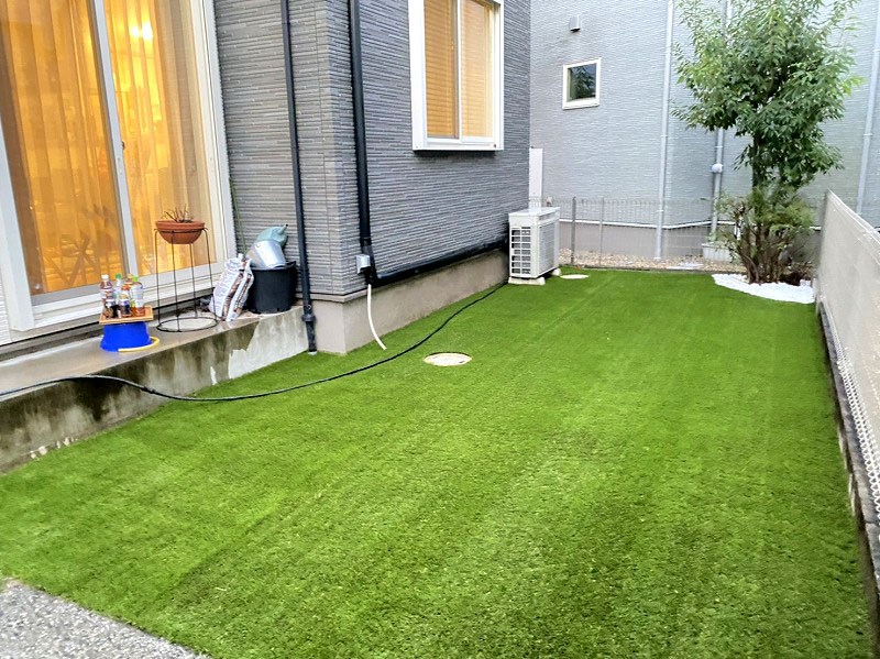 大阪府高槻市Y様邸 お庭に人工芝施工しました