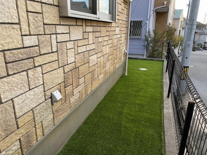 兵庫県神戸市K様邸 ご自宅周辺の人工芝施工
