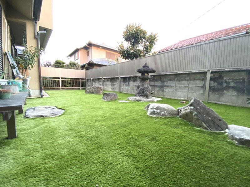 大阪府河内長野市M様邸 お庭の人工芝施工