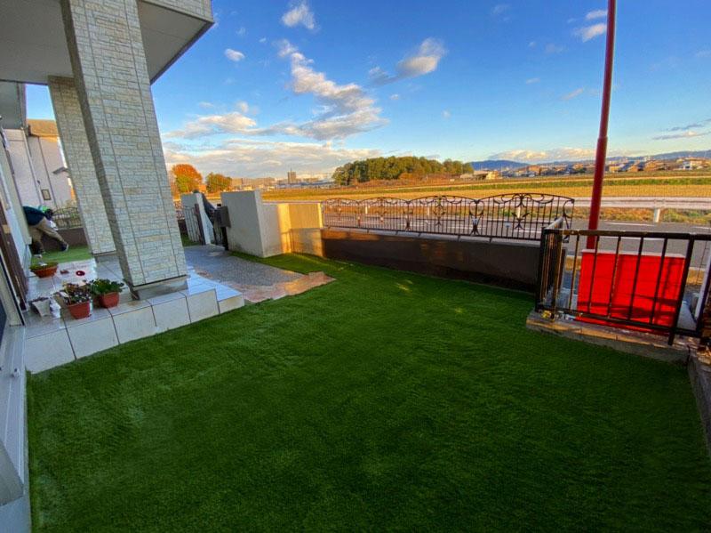 滋賀県草津市A様邸 お庭に人工芝施工しました