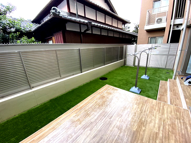 京都府京都市M様邸 マンション専用庭の人工芝施工