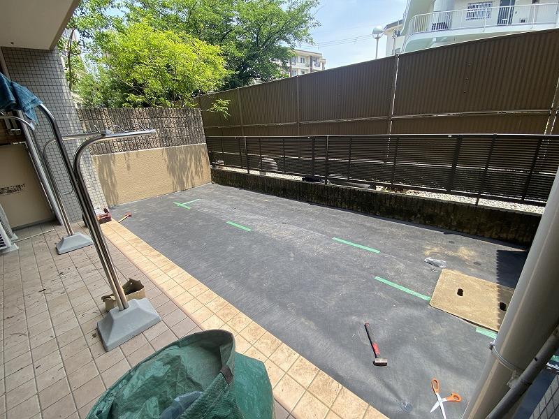 奈良県奈良市N様邸 マンション専用庭の人工芝施工